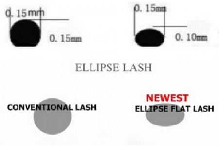 Swanky Flat Ellipse Lash Extensions D curl 0.15 & 0.18